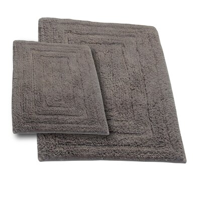 Irving 2 Piece 100% Cotton Racetrack Spray Latex Bath Rug Set Size: 24 H X 17 W and 30 H X 20 W, Color: Stone
