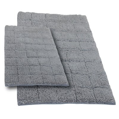 Tanner 2 Piece 100% Cotton Summer Tile Spray Latex Bath Rug Set Size: 24 H X 17 W and 34 H X 21 W, Color: Silver