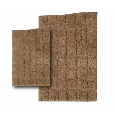 Tanner 2 Piece 100% Cotton Summer Tile Spray Latex Bath Rug Set Size: 30 H X 20 W and 40 H X 24 W, Color: Taupe