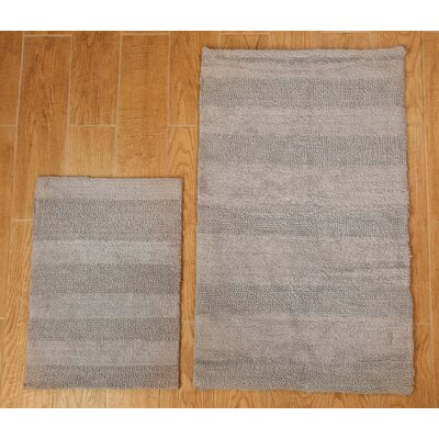 Verne 2 Piece 100% Cotton Wide Cut Reversible Bath Rug Set Color: Silver, Size: 24 H X 17 W and 34 H X 21 W