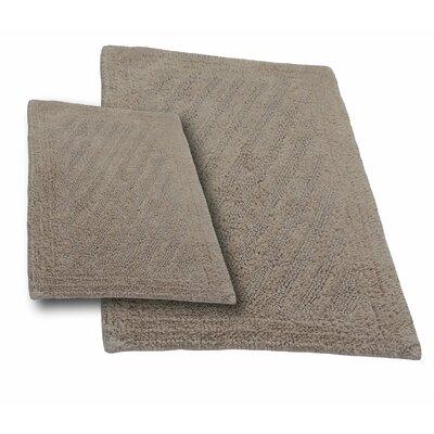 Verne 2 Piece 100% Cotton Shooting Star Reversible Bath Rug Set Color: Natural, Size: 24 H X 17 W and 40 H X 24 W
