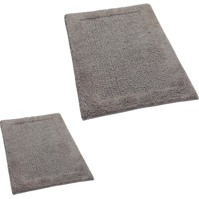 Grahame 2 Piece 100% Cotton Naples Spray Latex Bath Rug Set Size: 24 H X 17 W and 34 H X 21 W, Color: Stone