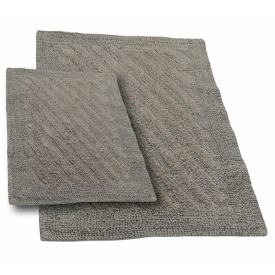 Verne 2 Piece 100% Cotton Shooting Star Reversible Bath Rug Set Size: 24 H X 17 W and 40 H X 24 W, Color: Stone