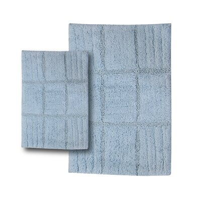 Conrad 2 Piece 100% Cotton Chakkar Board Spray Latex Bath Rug Set Color: Light Blue, Size: 30 H X 20 W and 40 H X 24 W