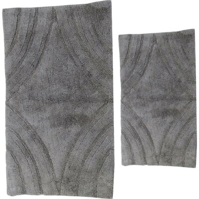 Barnes 2 Piece 100% Cotton Diamond Spray Latex Bath Rug Set Color: Silver, Size: 24 H X 17 W and 34 H X 21 W