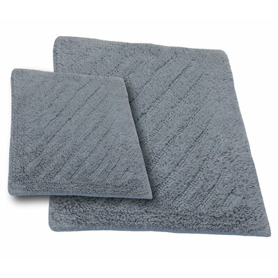 Verne 2 Piece 100% Cotton Shooting Star Reversible Bath Rug Set Color: Silver, Size: 24 H X 17 W and 40 H X 24 W