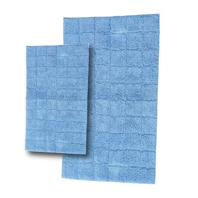 Tanner 2 Piece 100% Cotton Summer Tile Spray Latex Bath Rug Set Size: 30 H X 20 W and 40 H X 24 W, Color: Medium Blue