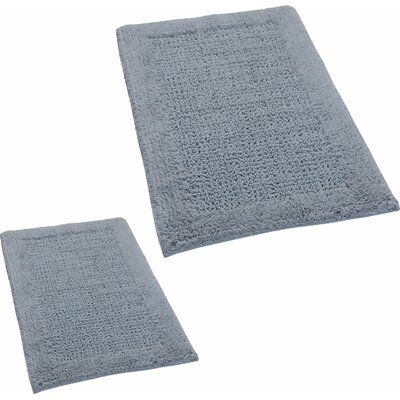 Grahame 2 Piece 100% Cotton Naples Spray Latex Bath Rug Set Size: 24 H X 17 W and 34 H X 21 W, Color: Silver