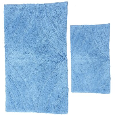 Barnes 2 Piece 100% Cotton Diamond Spray Latex Bath Rug Set Color: Medium Blue, Size: 24 H X 19 W and 30 H X 20 W