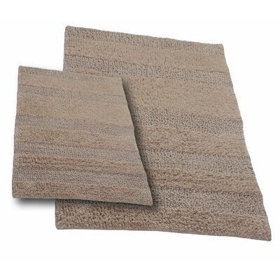 Verne 2 Piece 100% Cotton Wide Cut Reversible Bath Rug Set Color: Natural, Size: 30 H X 20 W and 40 H X 24 W