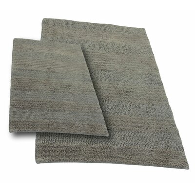 Verne 2 Piece 100% Cotton Wide Cut Reversible Bath Rug Set Color: Stone, Size: 24 H X 17 W and 40 H X 24 W