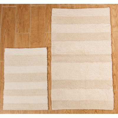 Verne 2 Piece 100% Cotton Wide Cut Reversible Bath Rug Set Color: Ivory, Size: 34 H X 21 W and 40 H X 24 W