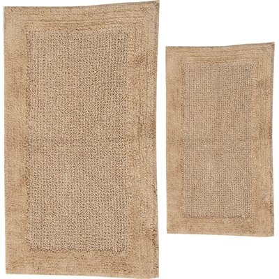 Grahame 2 Piece 100% Cotton Naples Spray Latex Bath Rug Set Size: 24 H X 17 W and 40 H X 24 W, Color: Natural