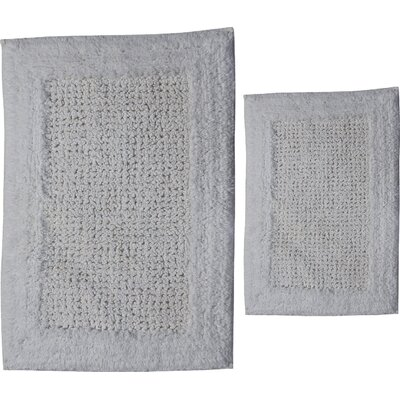 Grahame 2 Piece 100% Cotton Naples Spray Latex Bath Rug Set Size: 34 H X 21 W and 40 H X 24 W, Color: White