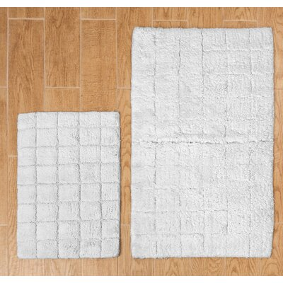 Tanner 2 Piece 100% Cotton Summer Tile Spray Latex Bath Rug Set Size: 24 H X 17 W and 30 H X 20 W, Color: White