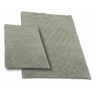 Verne 2 Piece 100% Cotton Shooting Star Reversible Bath Rug Set Color: Light Sage, Size: 24 H X 17 W and 34 H X 21 W