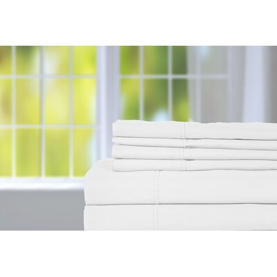 Hobbes 450 Thread Count Egyptian Quality Cotton Sheet Set Size: Queen, Color: White