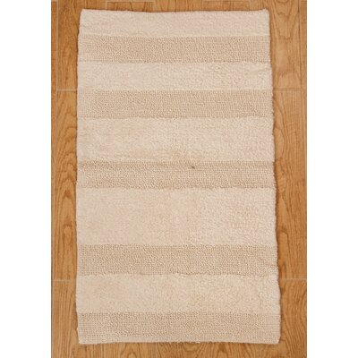 Verne 100% Cotton Wide Cut Reversible Bath Rug Color: Ivory, Size: 24 H X 17 W