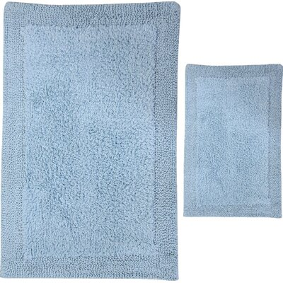 Golding 2 Piece 100% Cotton Bella Napoli Reversible Bath Rug Set Size: 24 H X 17 W and 30 H X 20 W, Color: Light Blue