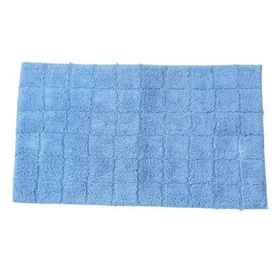Proust 100% Cotton Summer Tile Spray Latex Back Bath Rug Color: Medium Blue, Size: 40 H X 24 W