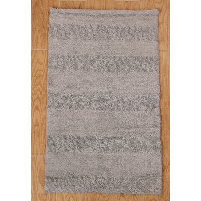 Verne 100% Cotton Wide Cut Reversible Bath Rug Color: Silver, Size: 40 H X 24 W