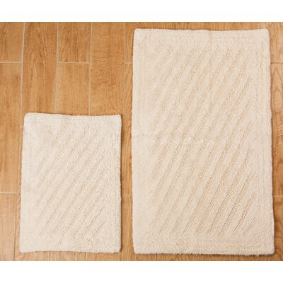 Verne 2 Piece 100% Cotton Shooting Star Reversible Bath Rug Set Size: 24 H X 17 W and 34 H X 21 W, Color: Ivory