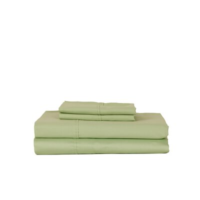 Hobbes 450 Thread Count Egyptian Quality Cotton Sheet Set Size: Twin, Color: Celedon