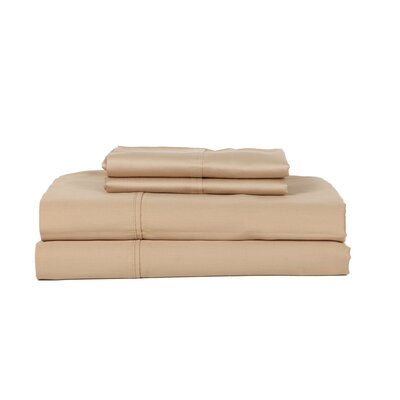 Hobbes 450 Thread Count Egyptian Quality Cotton Sheet Set Size: Queen, Color: Taupe