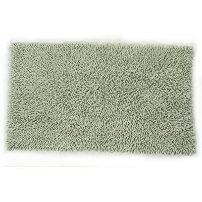 Eastcotts 100% Cotton Chenille Shaggy Spray Latex Back Bath Rug Size: 40 H X 24 W, Color: Light Sage