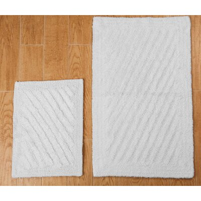 Verne 2 Piece 100% Cotton Shooting Star Reversible Bath Rug Set Size: 24 H X 17 W and 34 H X 21 W, Color: White