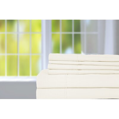 Hobbes 450 Thread Count Egyptian Quality Cotton Sheet Set Size: King, Color: Ivory