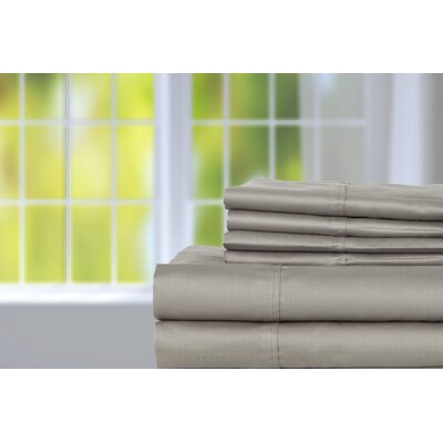 Hobbes 450 Thread Count Egyptian Quality Cotton Sheet Set Size: Queen, Color: Glacier Gray