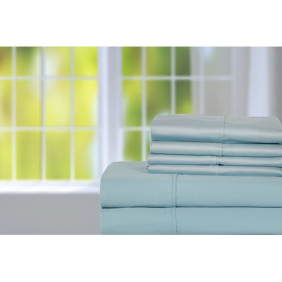 Hobbes 450 Thread Count Egyptian Quality Cotton Sheet Set Size: Queen, Color: Aquamarine