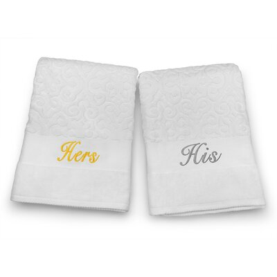 His / Hers Embroidered Terry Jacquard 2 Piece Bath Towel Set Color: Silver/Gold