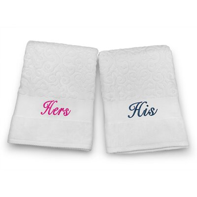 His / Hers Embroidered Terry Jacquard 2 Piece Bath Towel Set Color: Navy/Fuchsia