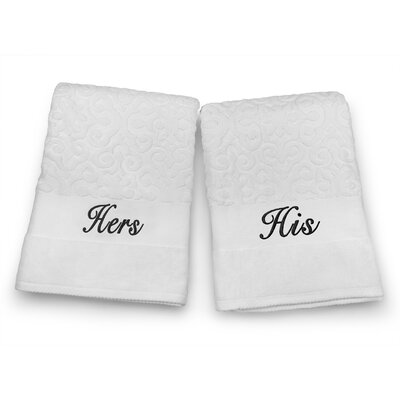 His / Hers Embroidered Terry Jacquard 2 Piece Bath Towel Set Color: Black