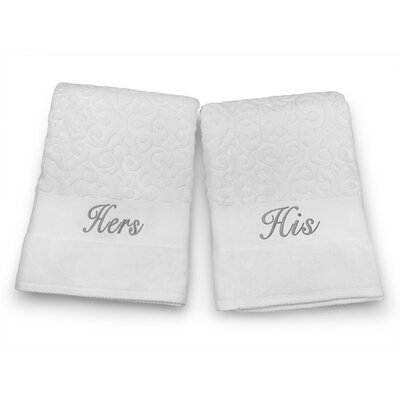 His / Hers Embroidered Terry Jacquard 2 Piece Bath Towel Set Color: Silver