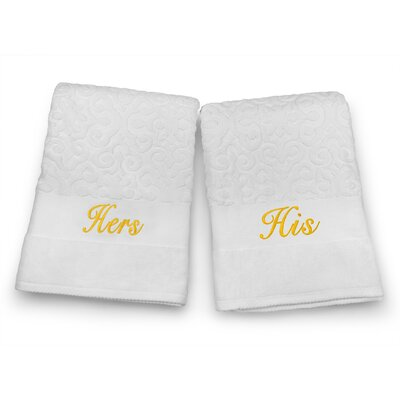 His / Hers Embroidered Terry Jacquard 2 Piece Bath Towel Set Color: Gold
