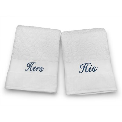 His / Hers Embroidered Terry Jacquard 2 Piece Bath Towel Set Color: Navy