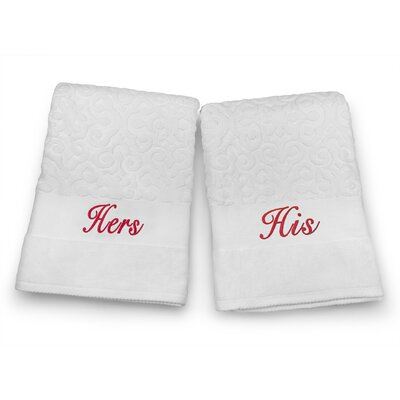 His / Hers Embroidered Terry Jacquard 2 Piece Bath Towel Set Color: Red