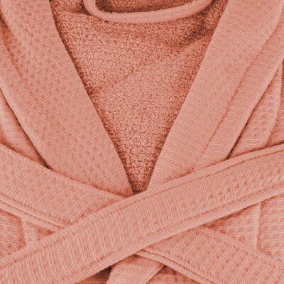 Whitman Superior 100% Cotton Waffle Weave Spa Bathrobe Color: Coral, Size: Medium