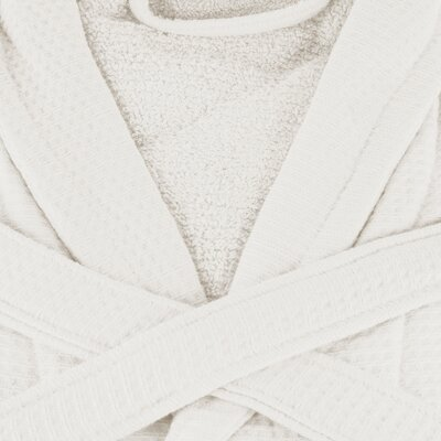 Whitman Superior 100% Cotton Waffle Weave Spa Bathrobe Color: Cream, Size: Medium