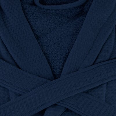 Whitman Superior 100% Cotton Waffle Weave Spa Bathrobe Color: Navy Blue, Size: Medium