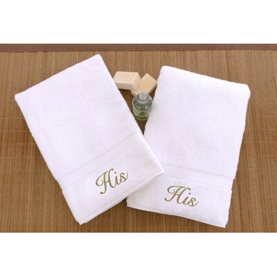 Personalized His and His Hand Towel Font Color: Gold