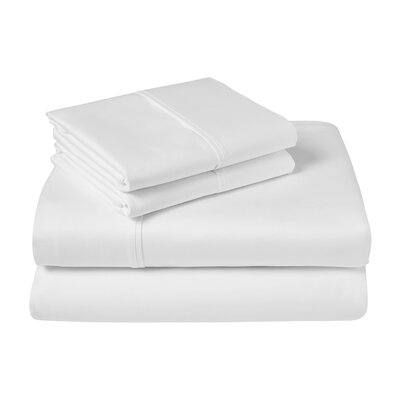 Cather 1000 Thread Count 100% Cotton Sheet Set Color: White, Size: Queen
