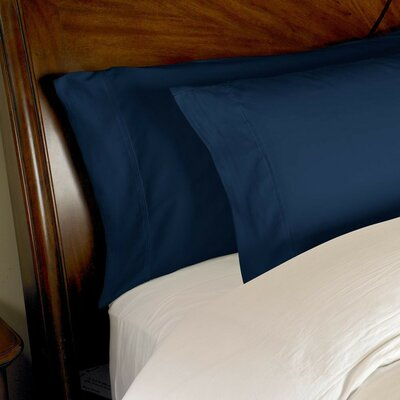 Omar 1000 Thread Count Egyptian-Quality Cotton Pillowcase Set Size: Standard, Color: Navy Blue