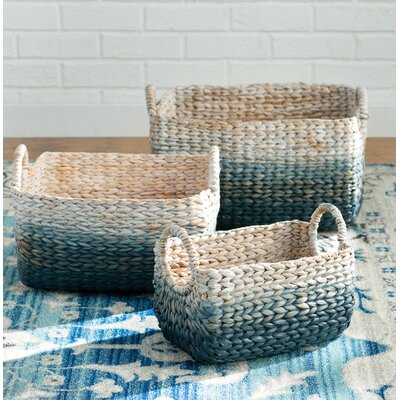Barrie 3 Piece Woven Water Hyacinth Basket Set