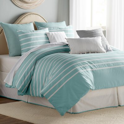 Andersen Reversible Comforter Set Color: Seaside Aqua, Size: Queen