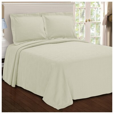 Benito Paisley Jacquard Matelasse Bedspread Size: Full, Color: Ivory