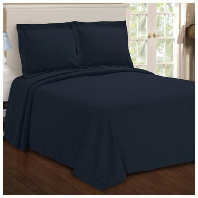 Benito Paisley Jacquard Matelasse Bedspread Size: Queen, Color: Navy Blue